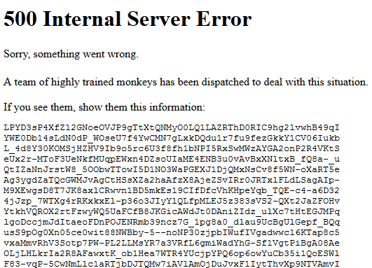 500 Internal Server Error od YouTube