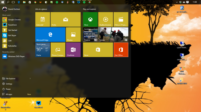 Windows 10 plocha a Start menu