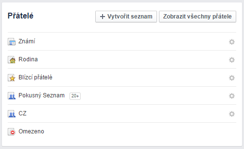 Facebook Lists / Seznamy