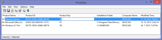 ProduKey v1.80 - Recover lost Windows product key (CD-Key) and Office 2003/2007 product key.